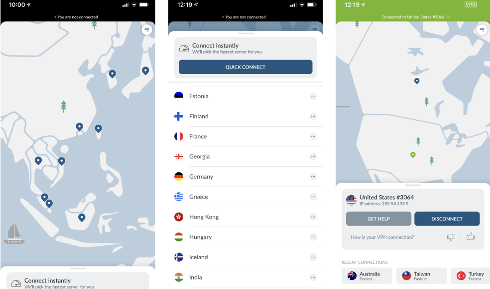 Nord VPN UI showing examples of countries